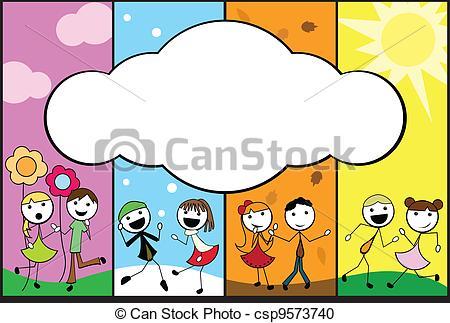 Illustration clipart child background Stick banner cartoon four children