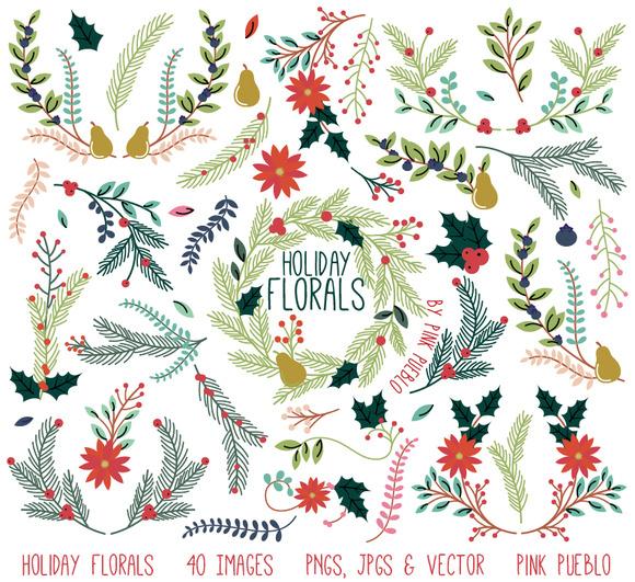 Illustration clipart christmas Florals Vintage Market Holiday Christmas