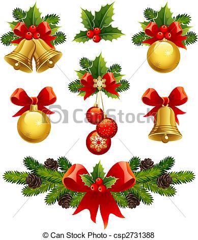 Illustration clipart christmas Vector ornaments christmas of
