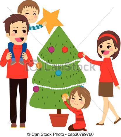 Illustration clipart christmas Vector Christmas Tree family Clip