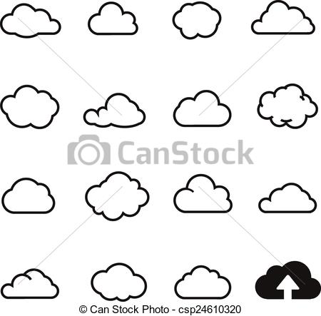 Illustration clipart cloud shape And collectio for Cloud collectio