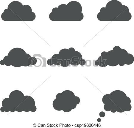 Illustration clipart cloud shape Csp19806448 white template white shapes