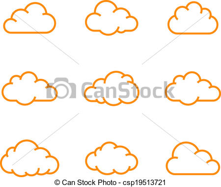Illustration clipart cloud shape Cloud collection  icons of