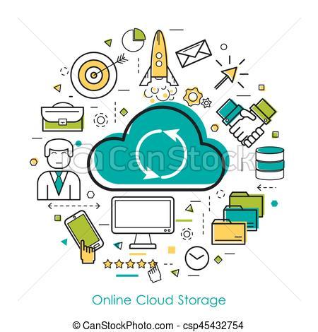 Illustration clipart cloud storage Cloud LineArt Storage Clipart Online