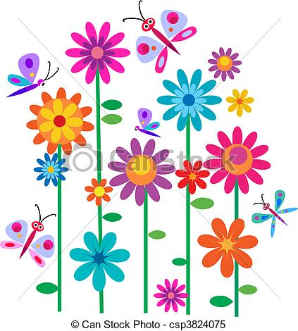 Illustration clipart colorful flower Clipart Springtime butterflies and Vector