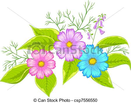 Illustration clipart colourful flower Cosmos cosmos Flower cosmos Flower