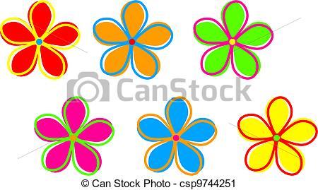 Illustration clipart colourful flower Cute Retro Funky Retro Funky
