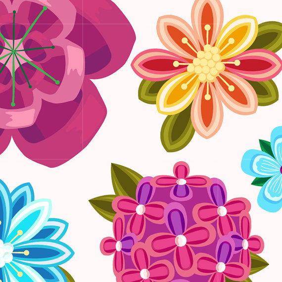 Illustration clipart colourful flower Art Clipart Floral Beautiful /