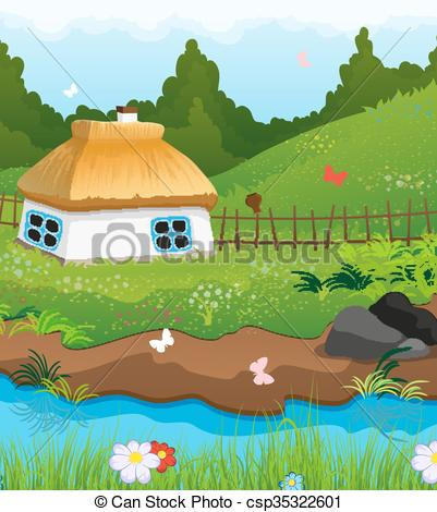 Illustration clipart country house River csp35322601 of House Vector