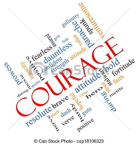 Illustration clipart courage With Courage  Word Angled