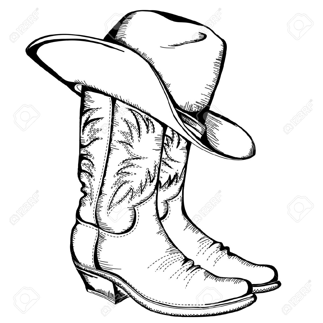 Illustration clipart cowboy & cowboy Boot Clipartner Images