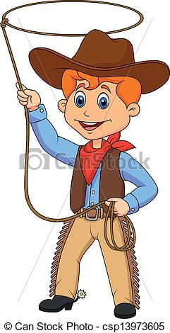 Illustration clipart cowboy Kid Cowboy of  Vector