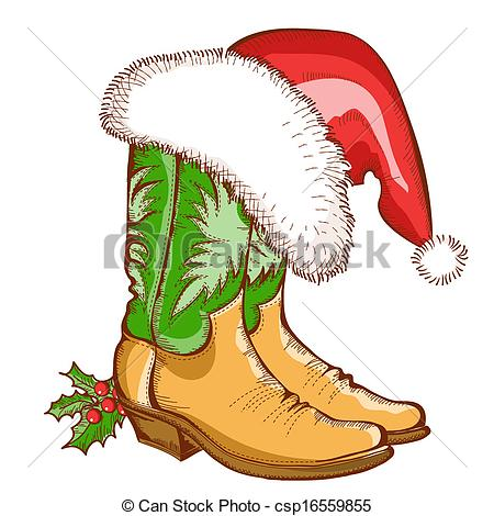 Illustration clipart cowboy Cowboy Christmas of  Vector