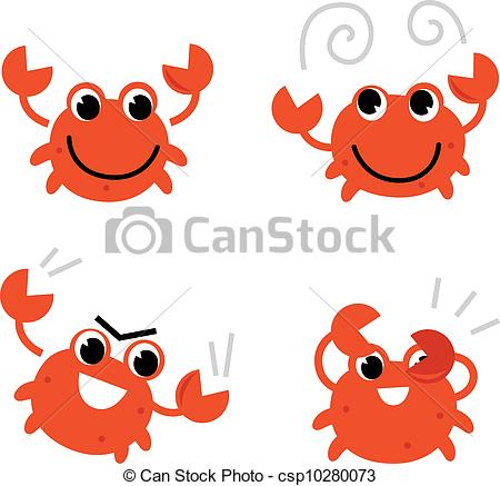Illustration clipart crab Different Vectors isolated Cartoon in