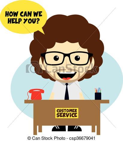 Illustration clipart customer service retail Customer Vector of desk cartoon