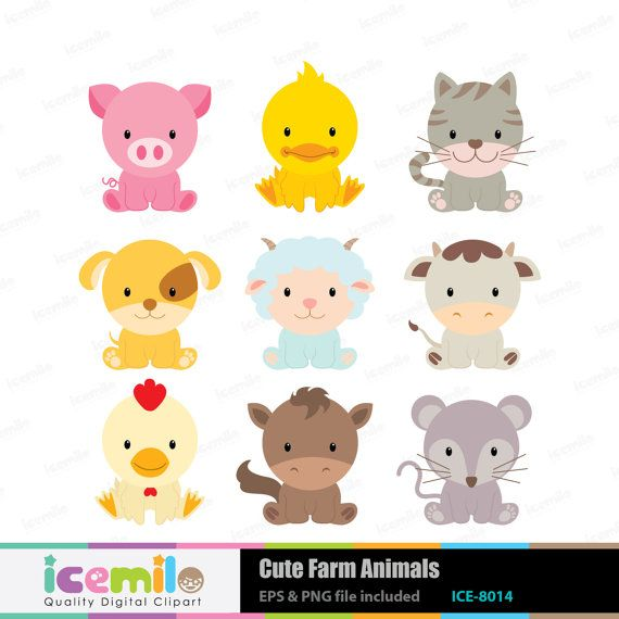 Animal clipart baby animal 1156 Cute Clipart Animals Digital