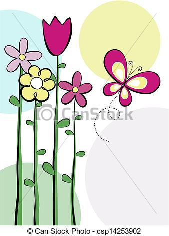 Illustration clipart cute flower Butterfly flowers and butterfly vector
