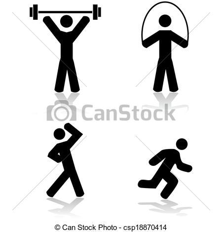 Illustration clipart exercise  set csp18870414 Exercise a