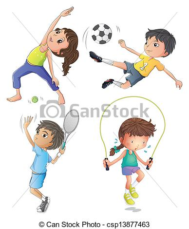 Illustration clipart exercise And Two exercising Clip girls
