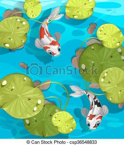 Illustration clipart fish swimming Pond  Vectors fish pond