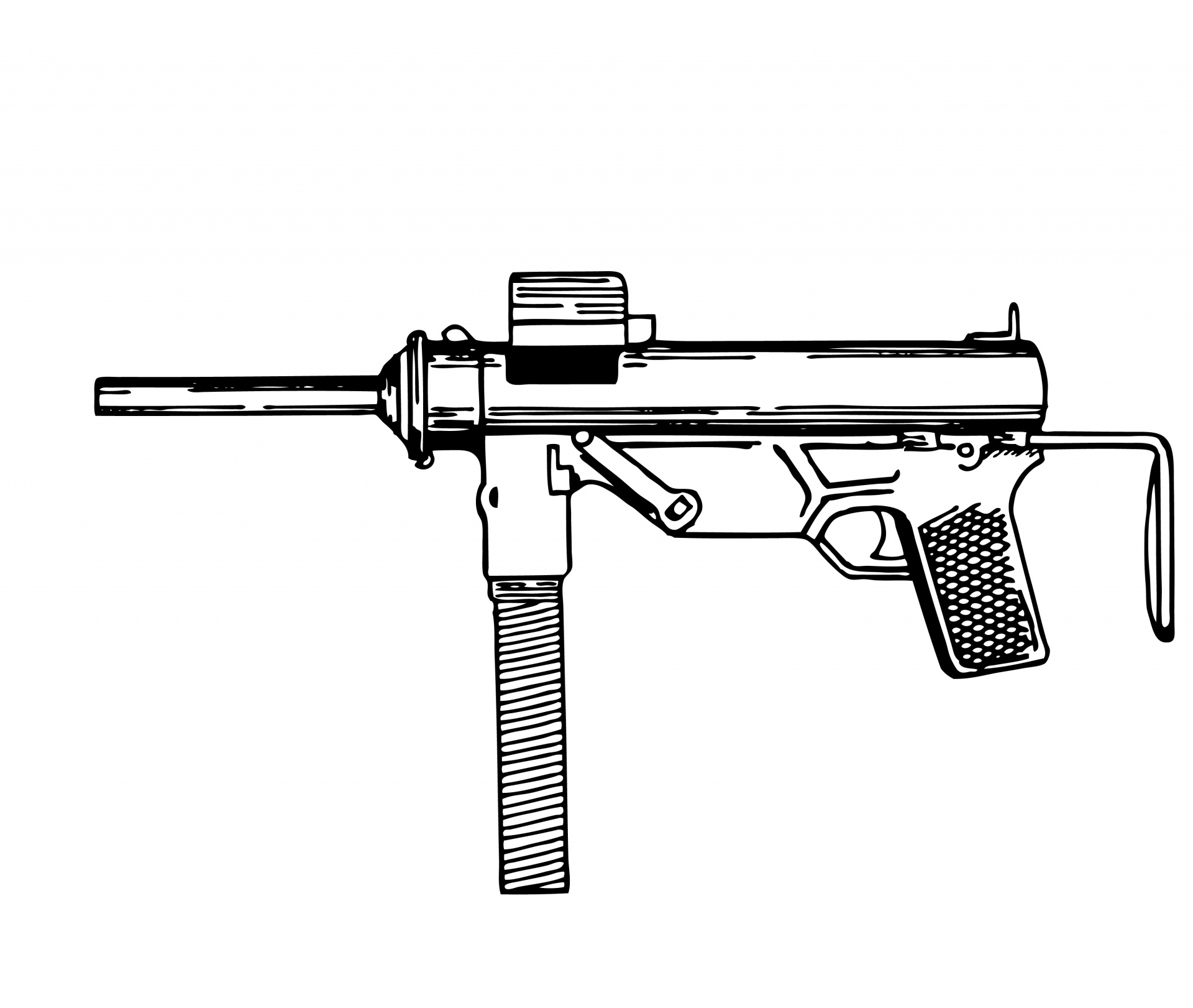 Illustration clipart gun Gun Public Stock Submachine Illustration