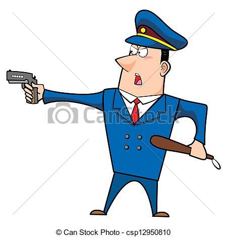 Illustration clipart gun  Vector police male officer