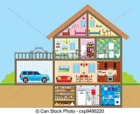 Illustration clipart hause Vector full color Clipart Vector