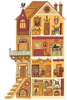 Illustration clipart home Illustrations House Dollhouse and Davey