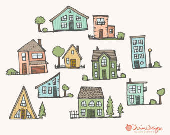 Illustration clipart home Neighborhood commercial use drawn trees