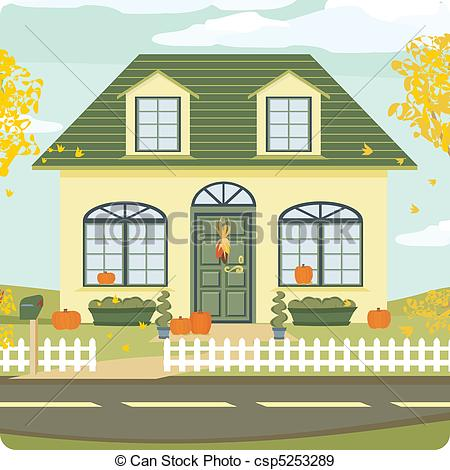 Illustration clipart hous EPS with Fall House House