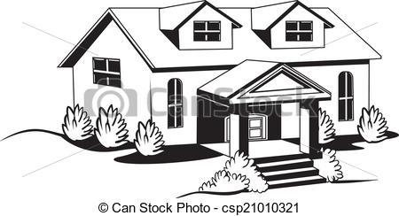 White clipart houseblack Bushes Black csp21010321 House and