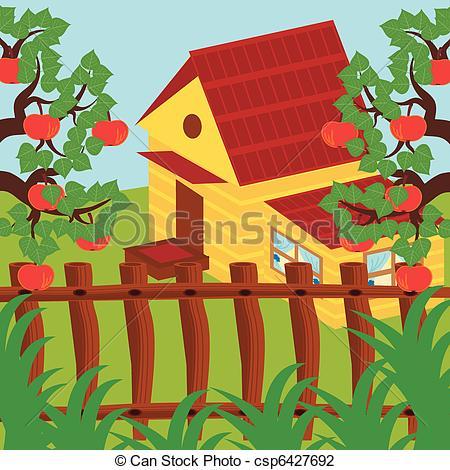 Apple clipart house House and house nice Vector