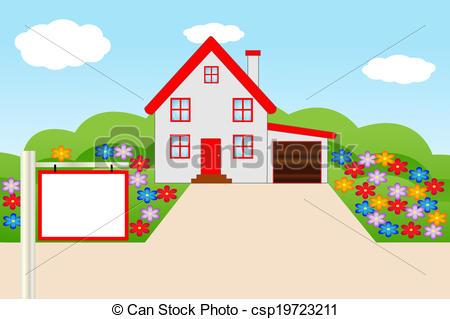 Illustration clipart house garden Flowering Vector Clip a of