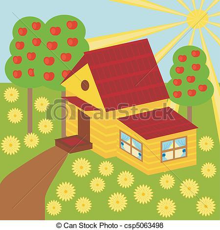 Illustration clipart house garden House Vector nice little and