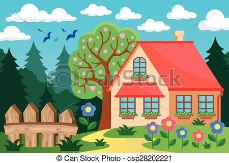 Cottage clipart house garden Illustration Vector theme theme and