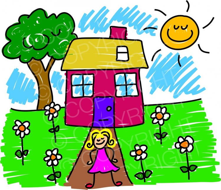 Illustration clipart house garden Girls Happy Art Art Cartoon