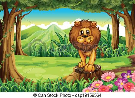 Illustration clipart jungle lion  jungle stump A of