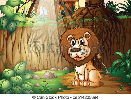 Illustration clipart jungle lion Lion A sitting EPS of