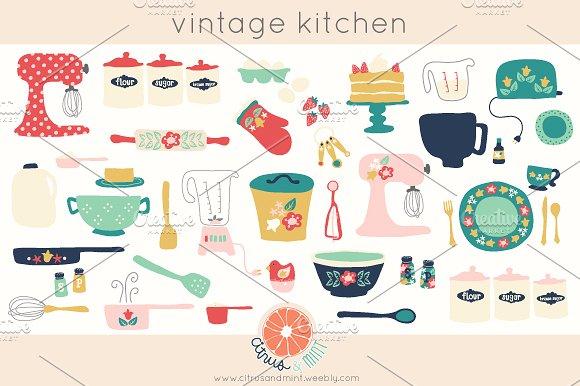 Kitchen clipart vintage kitchen Art Art Illustrations Kitchen Vintage
