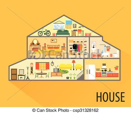 Illustration clipart maison Furniture interior cartoon Art with