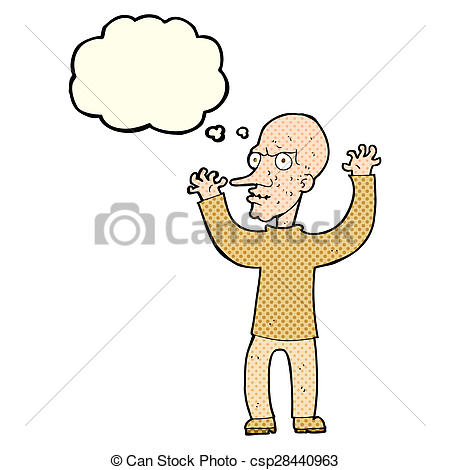 Illustration clipart mean man Bubble thought Stock mean man