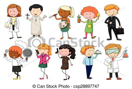 Illustration clipart occupation Of in different occupation EPS