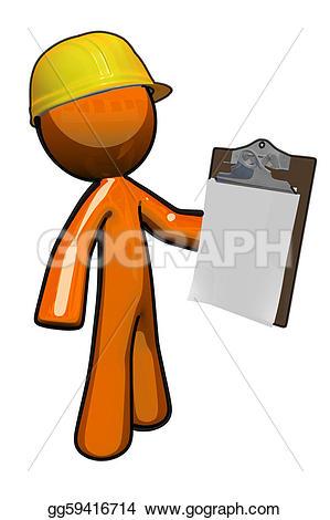 Illustration clipart orange man Clipboard Stock construction a supervisor