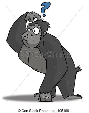 Illustration clipart perplexed And cartoon Clip 728 Gorilla