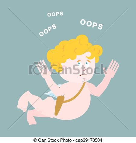 Illustration clipart perplexed Cupid Illustration says Amur Surprised