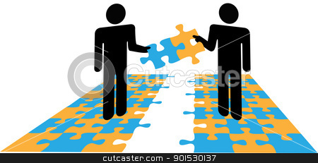 Illustration clipart personal selling Puzzle People collaboration stock solution