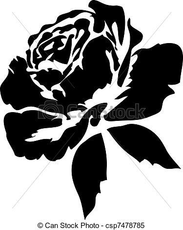 Illustration clipart rose Black Black csp7478785 roses
