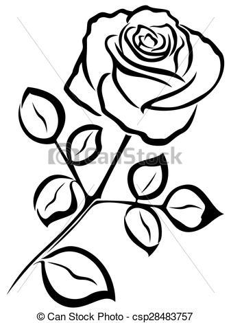 Illustration clipart rose Of Rose  outline Rose