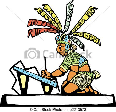 Illustration clipart talk partner 4 throne Scribe Mayan Scribe