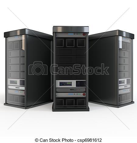 Illustration clipart server 3d csp6981612 row racks row